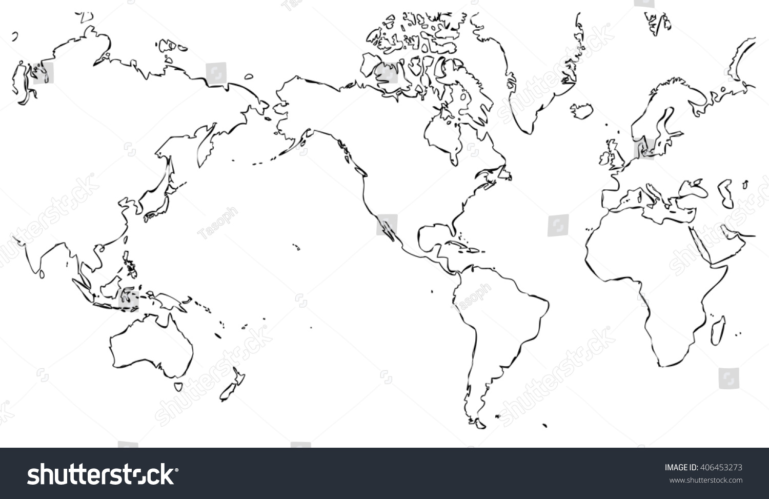 World map centered on united states stock illustration 406453273 world map centered on united states of america with outlines on white background planet geographic gumiabroncs Images
