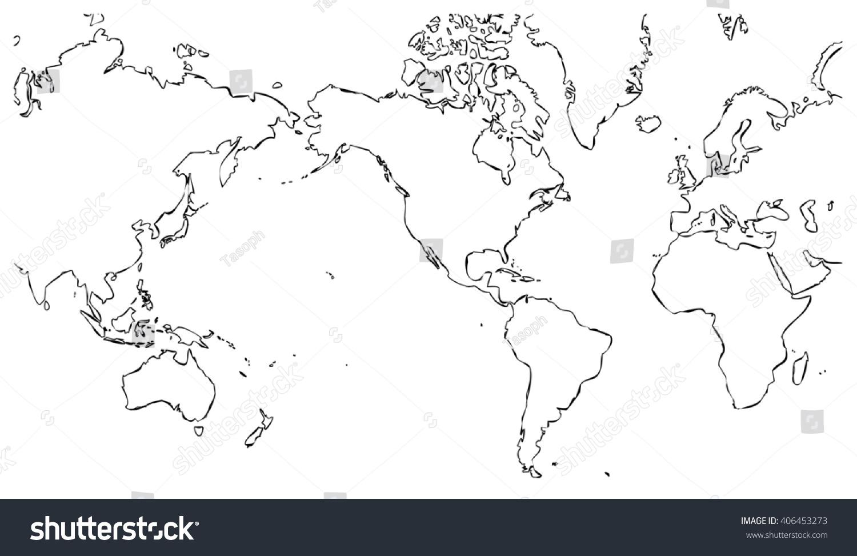 World Map Centered On United States Stockillustration 406453273
