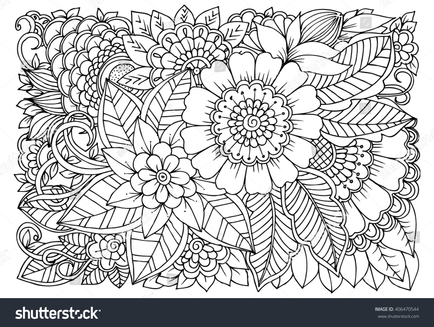 Coloring pages relaxing - Zentangle Floral Doodles In Black And White Coloring Pages For Adult Relaxing Job