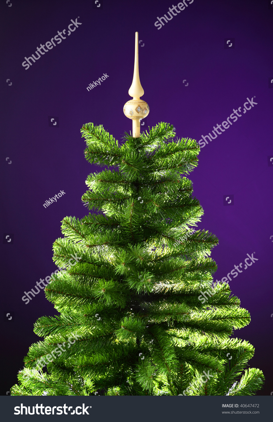 Christmas tree without decorations violet background