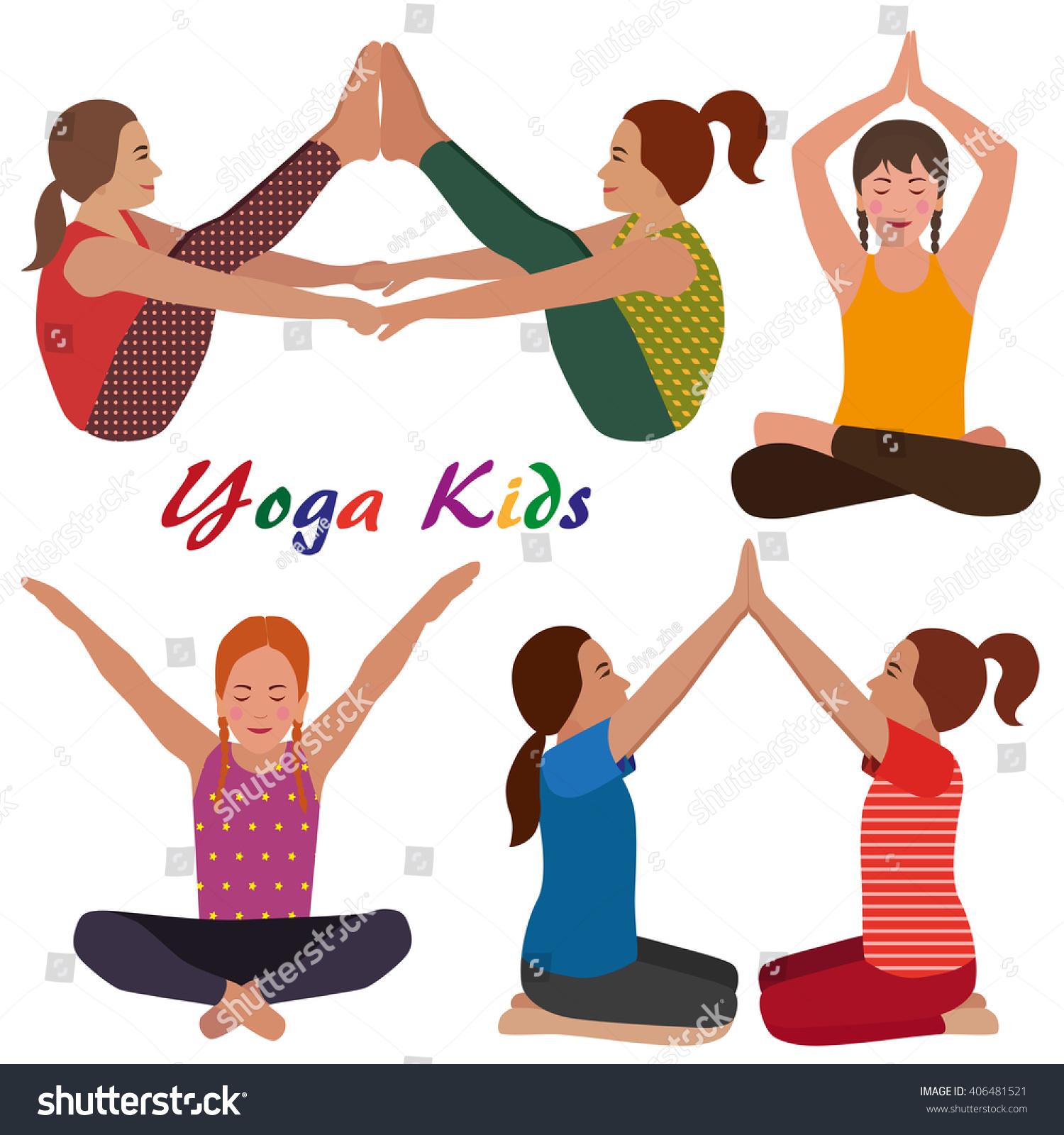 Yoga Kids Set Gymnastics Children Healthy Stock Vector Royalty Free 406481521