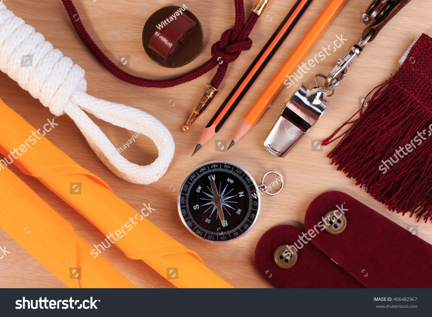 A Set Of Various Boy Scout Camping Equipment Background With Tourist Object