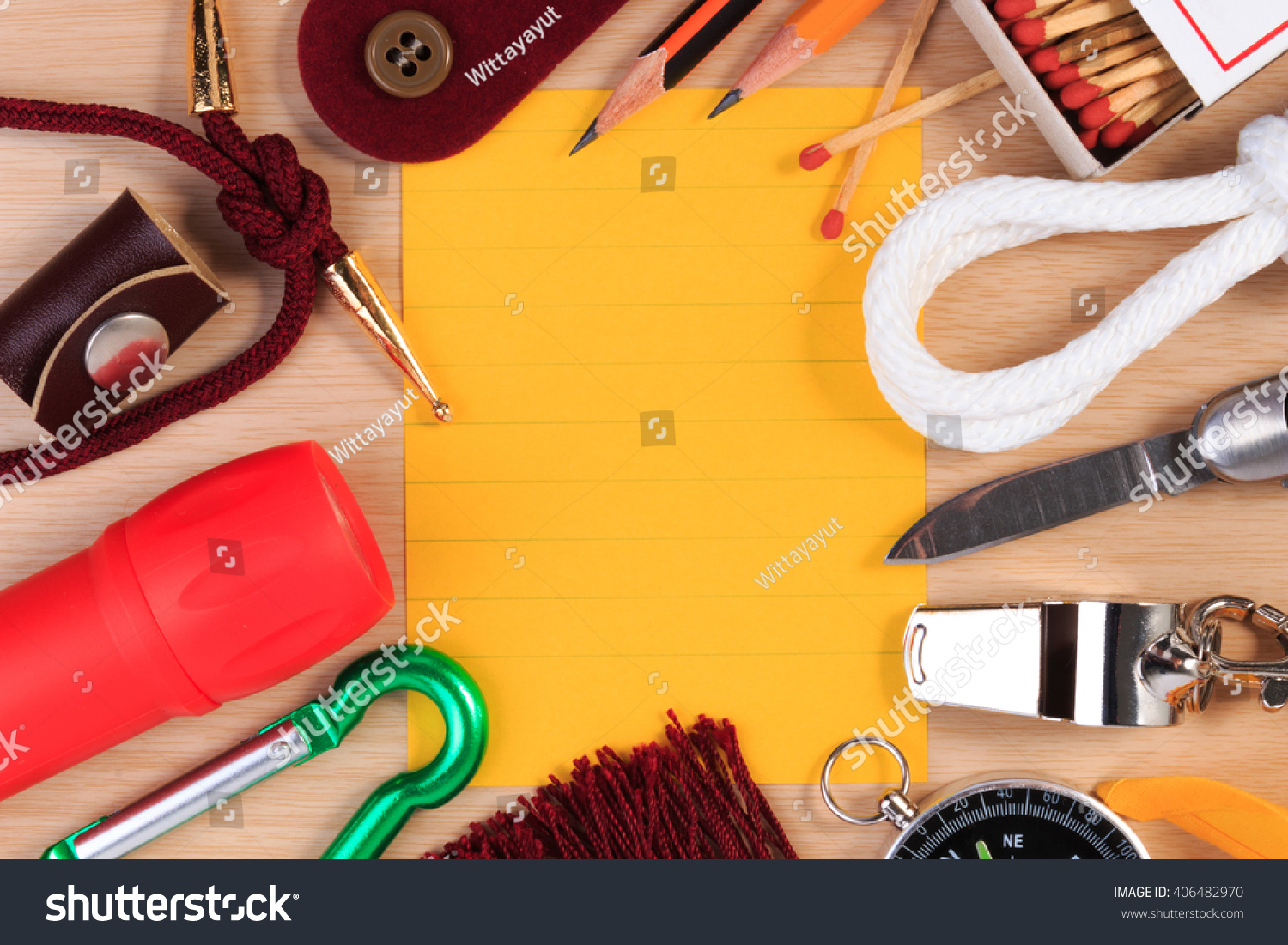 Set Various Boy Scout Camping Equipment Stock Photo 406482970