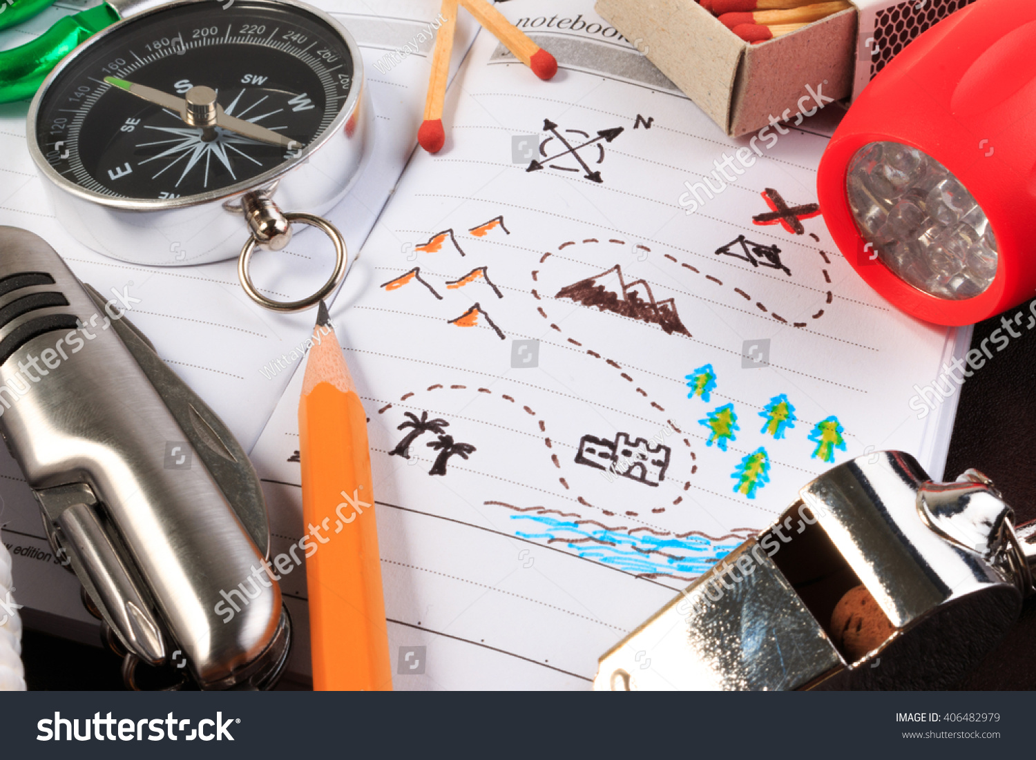 A Set Of Various Camping Equipment Boy Scout With Tourist Object