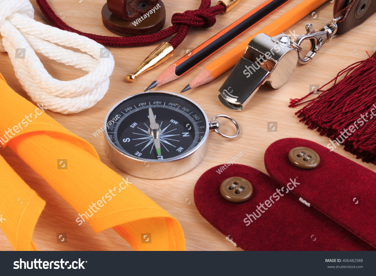 Set Various Boy Scout Camping Equipment Stock Photo 406482988