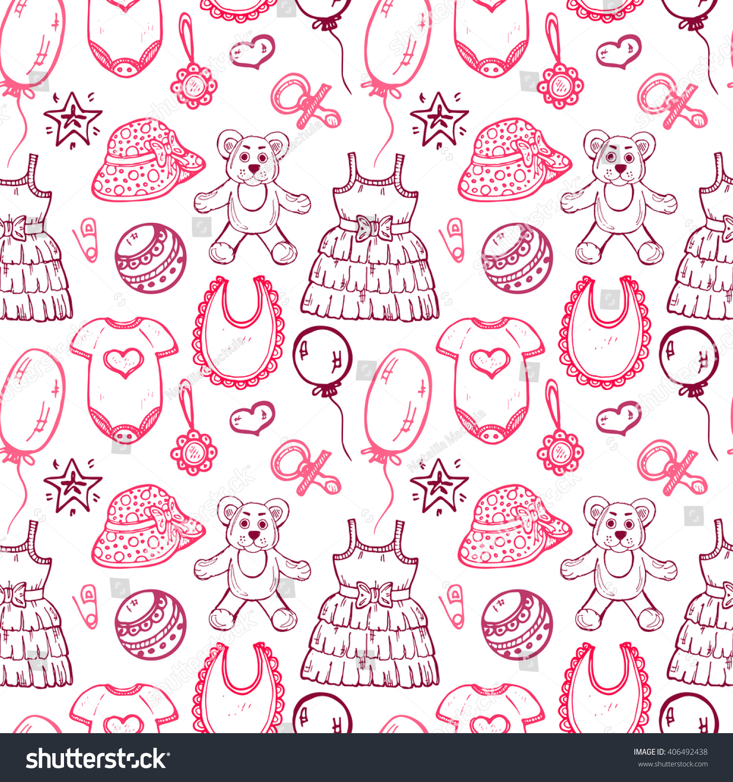 e87abf9c023c Seamless Pattern Cute Hand Drawn Clothes Stock Vector (Royalty Free ...
