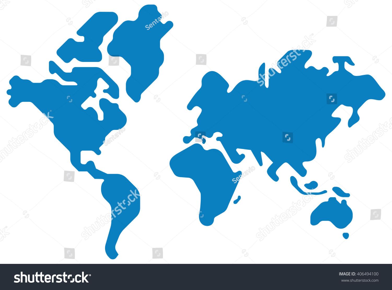 World Map Vector Silhouette Design Shape Stock Vector 406494100 ...