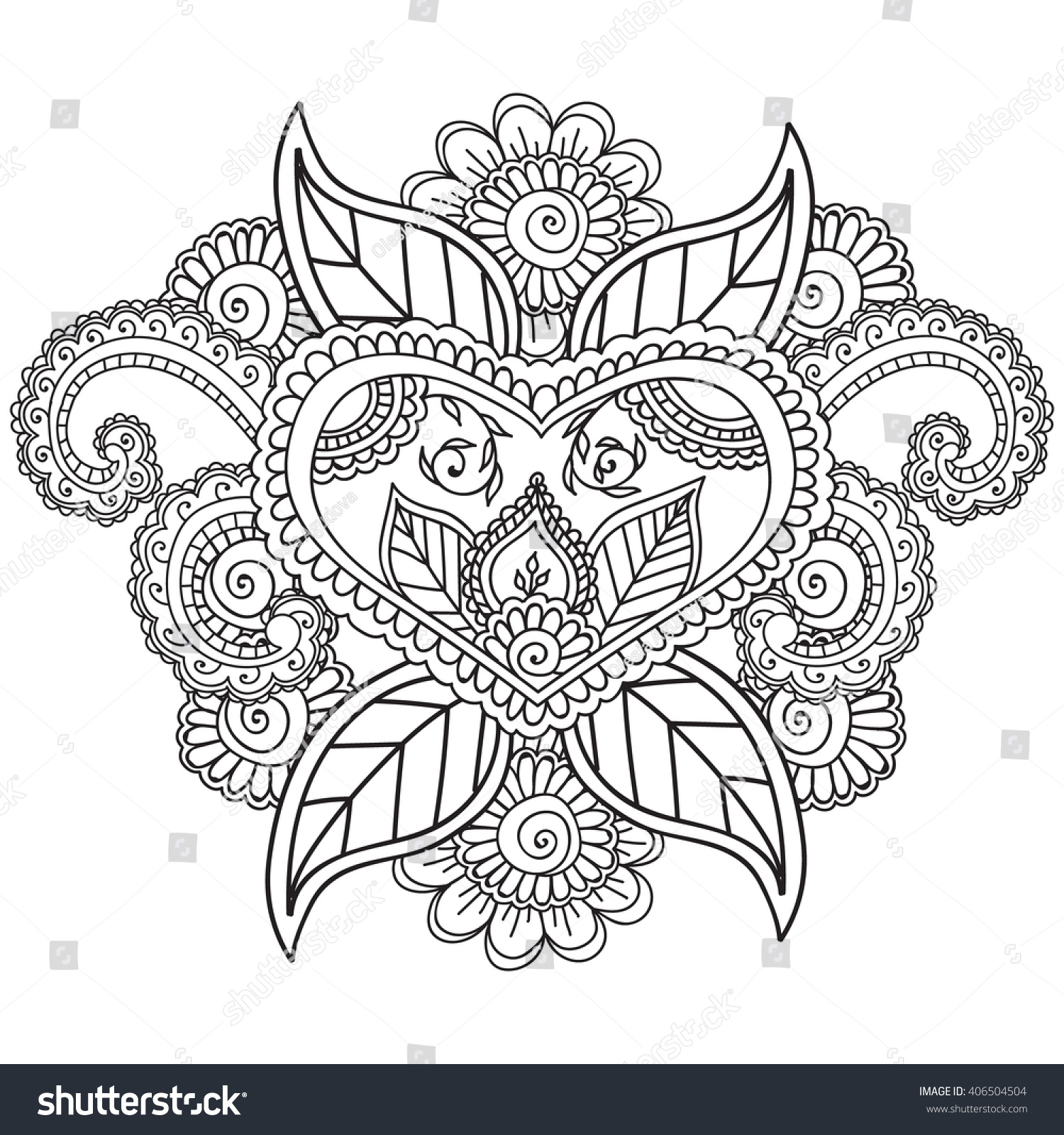 Coloring pages adults henna mehndi doodleszentahgle stock for Henna coloring pages