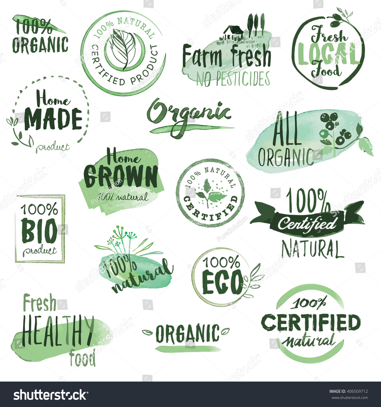 Organic food stickers and badges Hand drawn watercolor vector illustration set for food and drink restaurant natural products