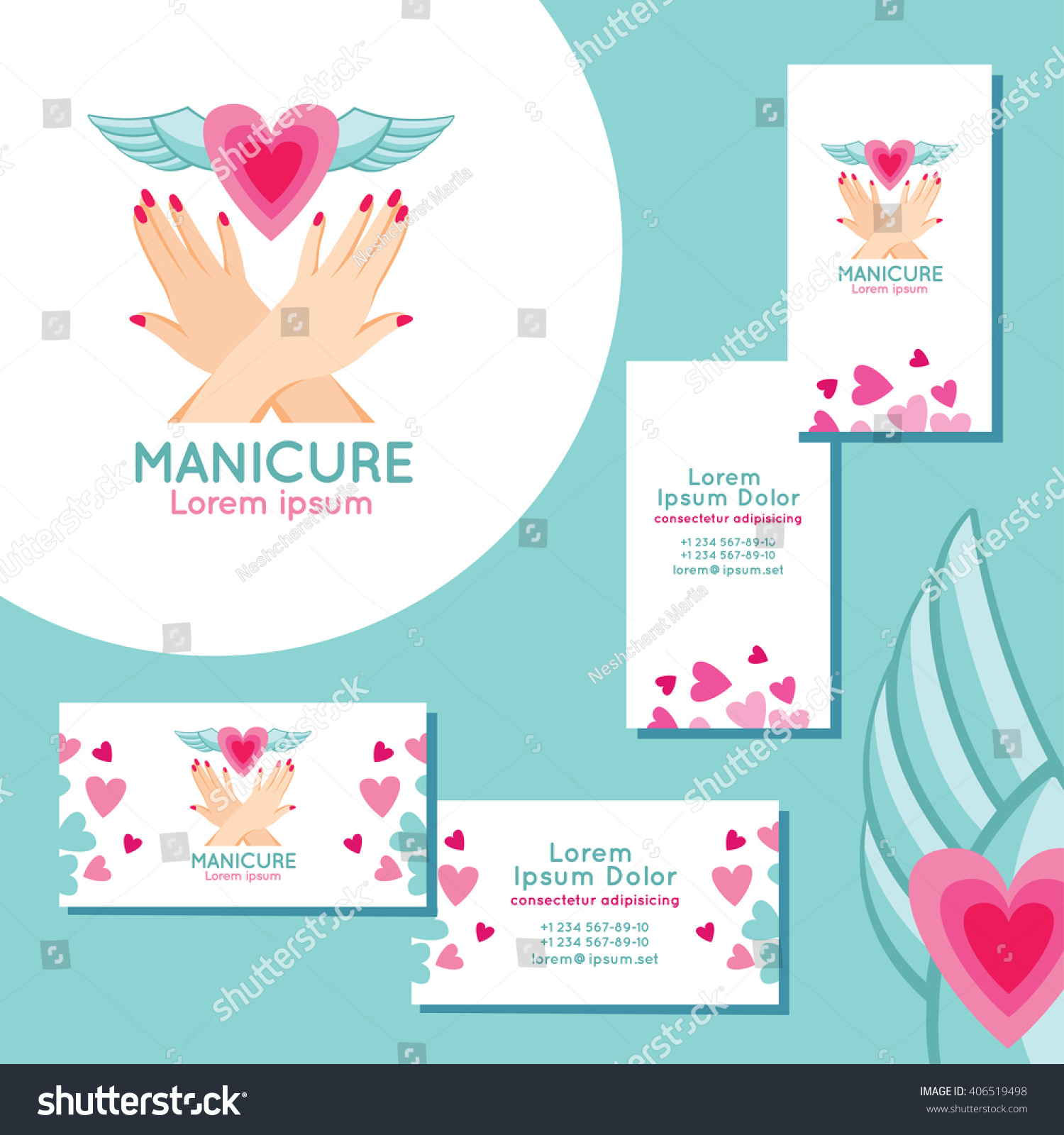 Manicure Logo Set Business Cards Manicure Stock Vector 406519498 ...