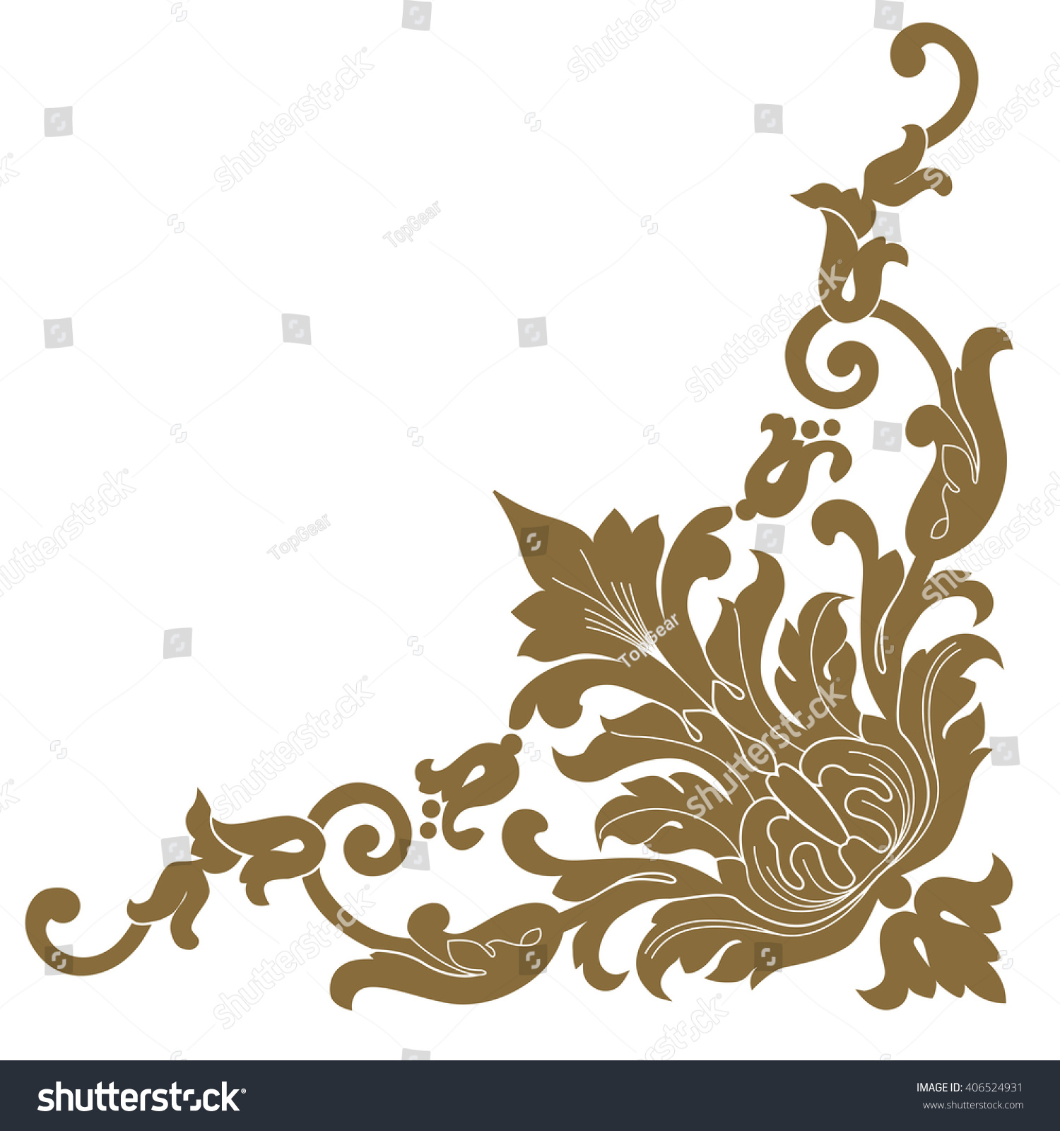 Premium Gold Vintage Baroque Frame Scroll Corner Ornament Engraving Border Floral Retro Pattern Antique Style Acanthus Foliage Swirl Decorative Design