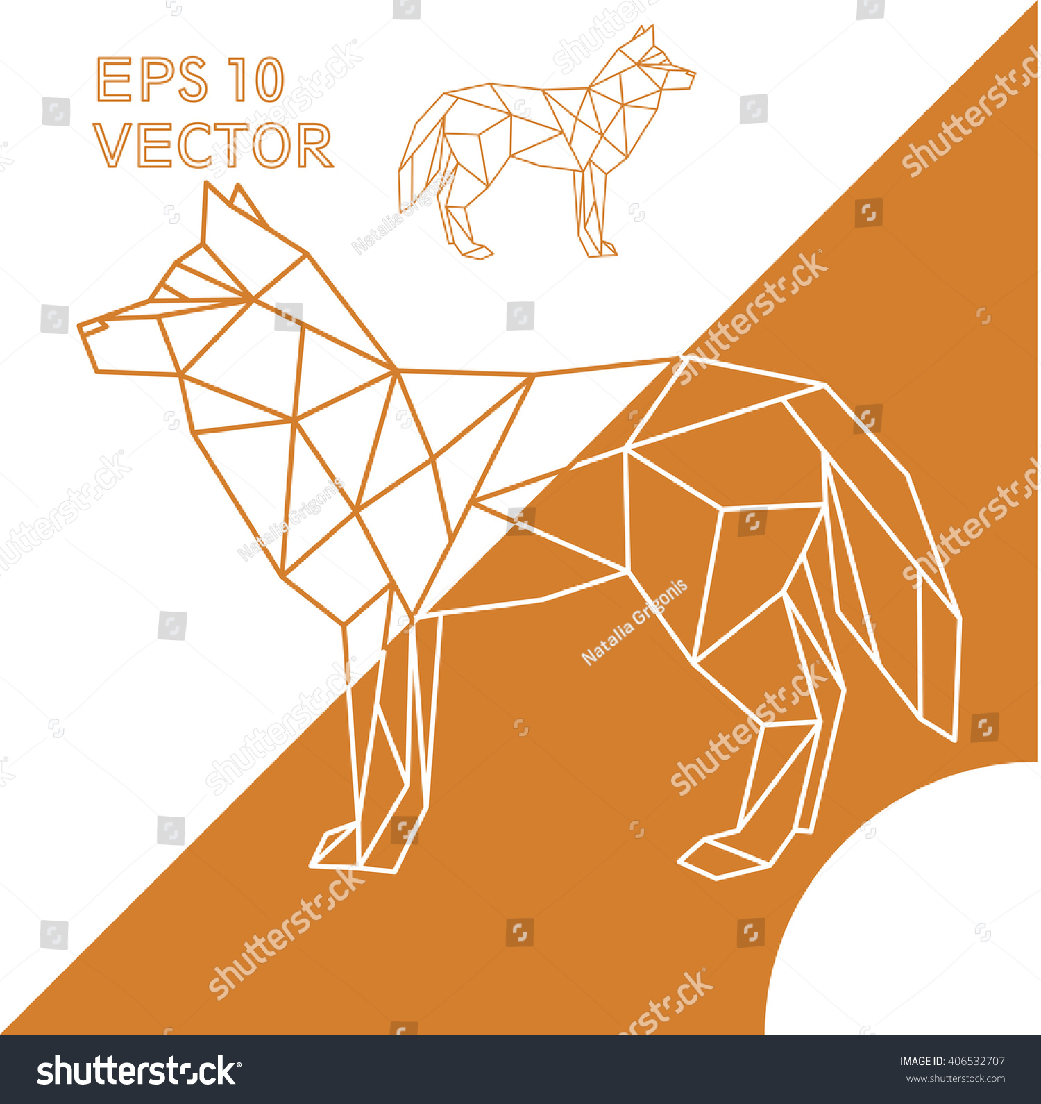 Geometric Animal Dog Or Fox Or Wolf Outline Stock Vector ...
