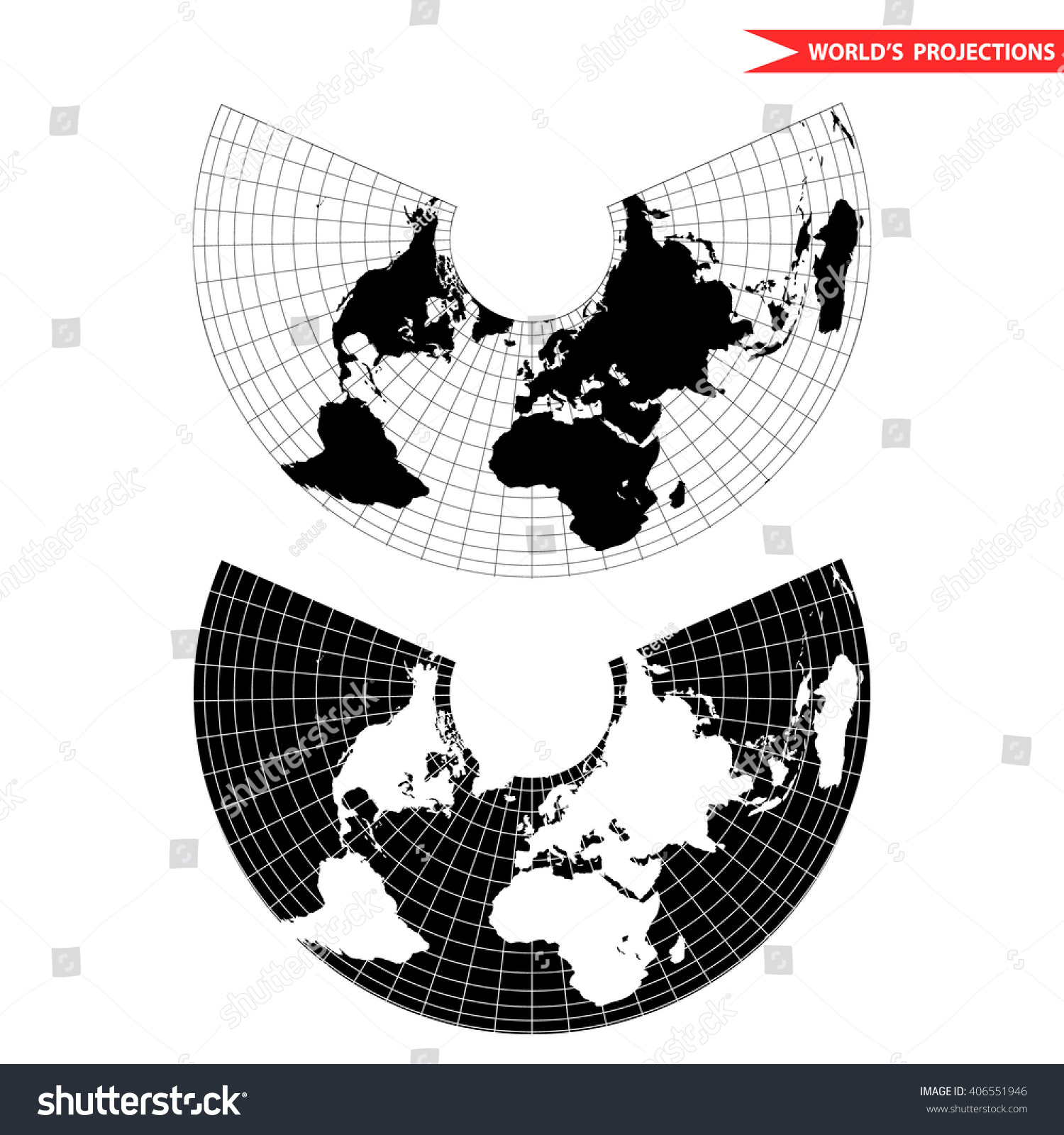 Albers Equal Area Conic Projection Black And White World Map With  Countries And Borders