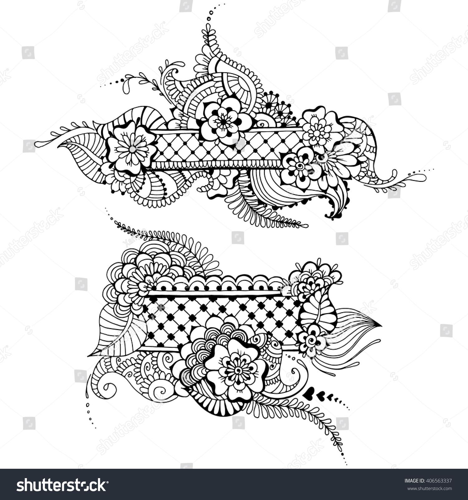 Templates Tattoo Design Mehndi Elements Floral Stock Vector ...