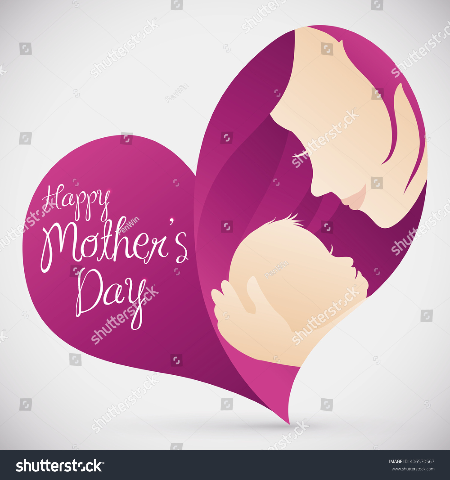 Lovely Mom Holding Her Little Baby Inside In A Heart Shape With