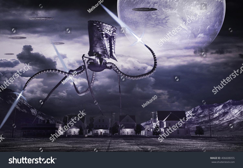La Bataille de Themyscira [Brainiac : WotFC] Stock-photo-night-scenery-with-small-town-and-giant-war-machine-d-illustration-406608055
