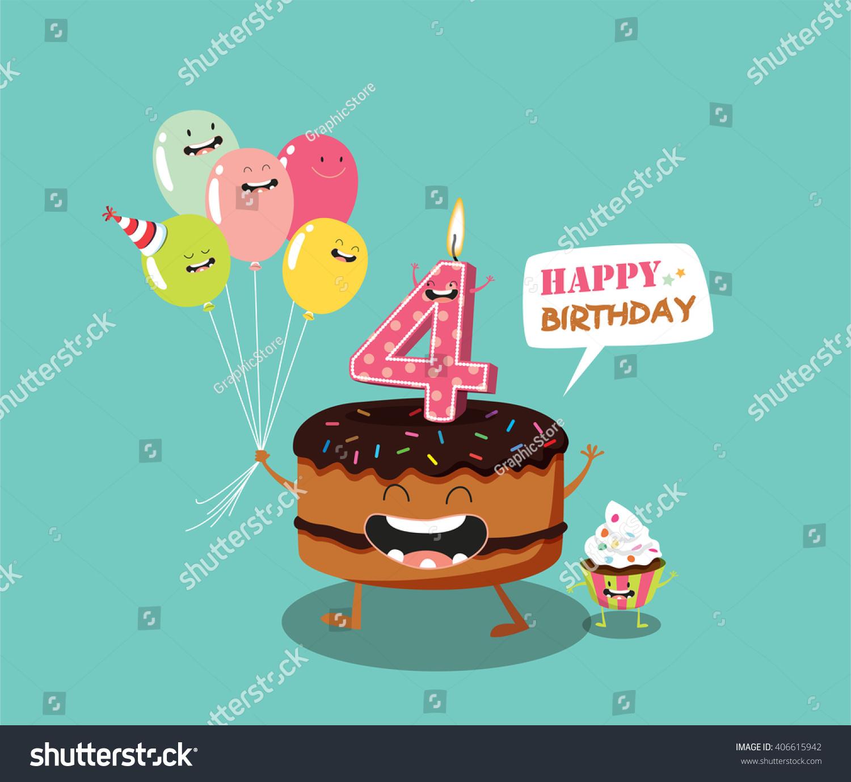 Happy Birthday Card Funny Cake Number Stock Photo Photo Vector
