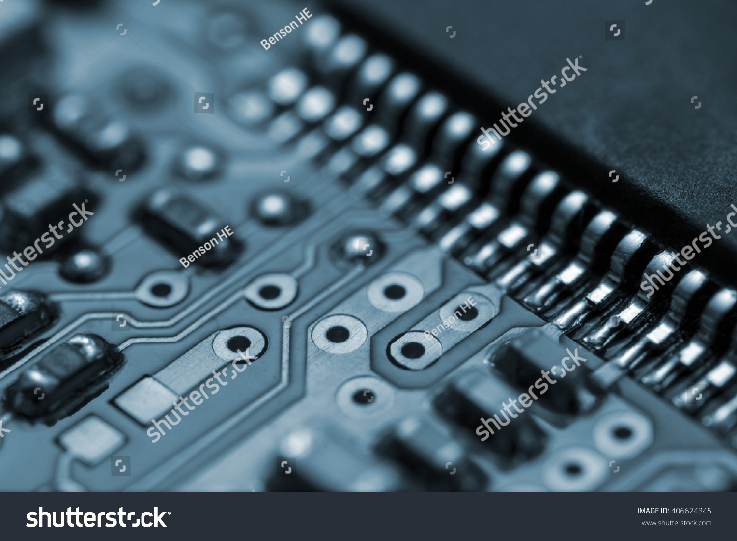 Application Specific Integrated Circuits And Chip Capacitors Mounted Circuit Board Stock Photo Closeup Of On A Printed Wiring Ez Canvas