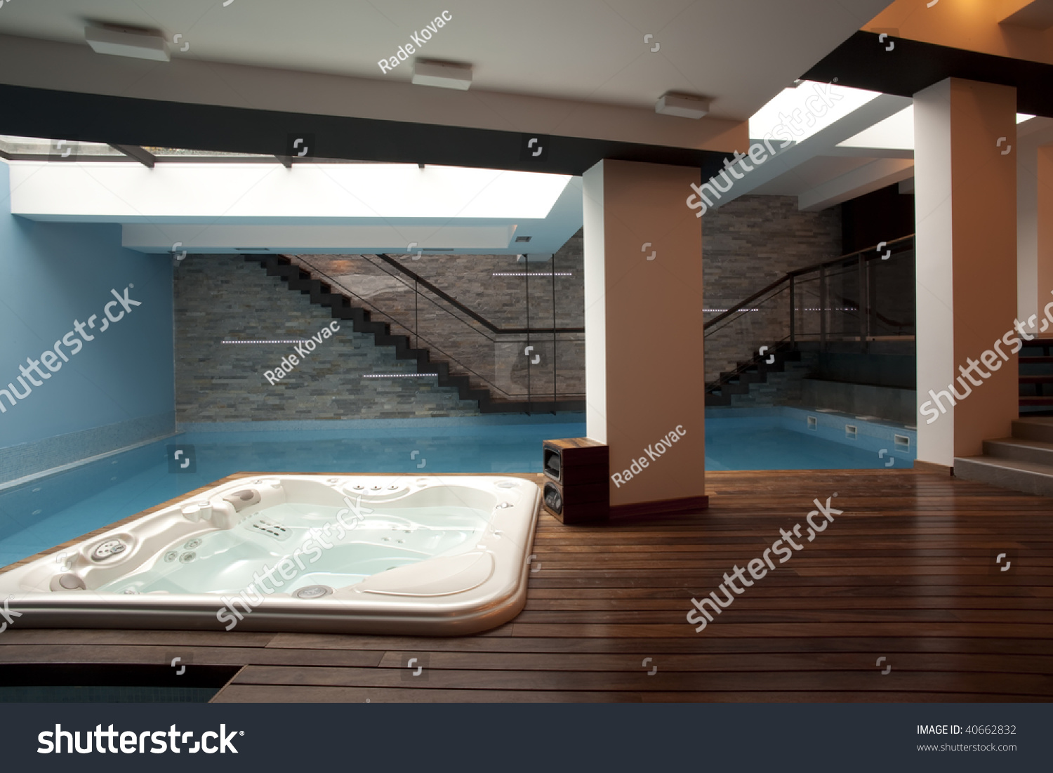 Large Swimming Pool Jacuzzi Tub Modern Stock Photo (Royalty Free ...