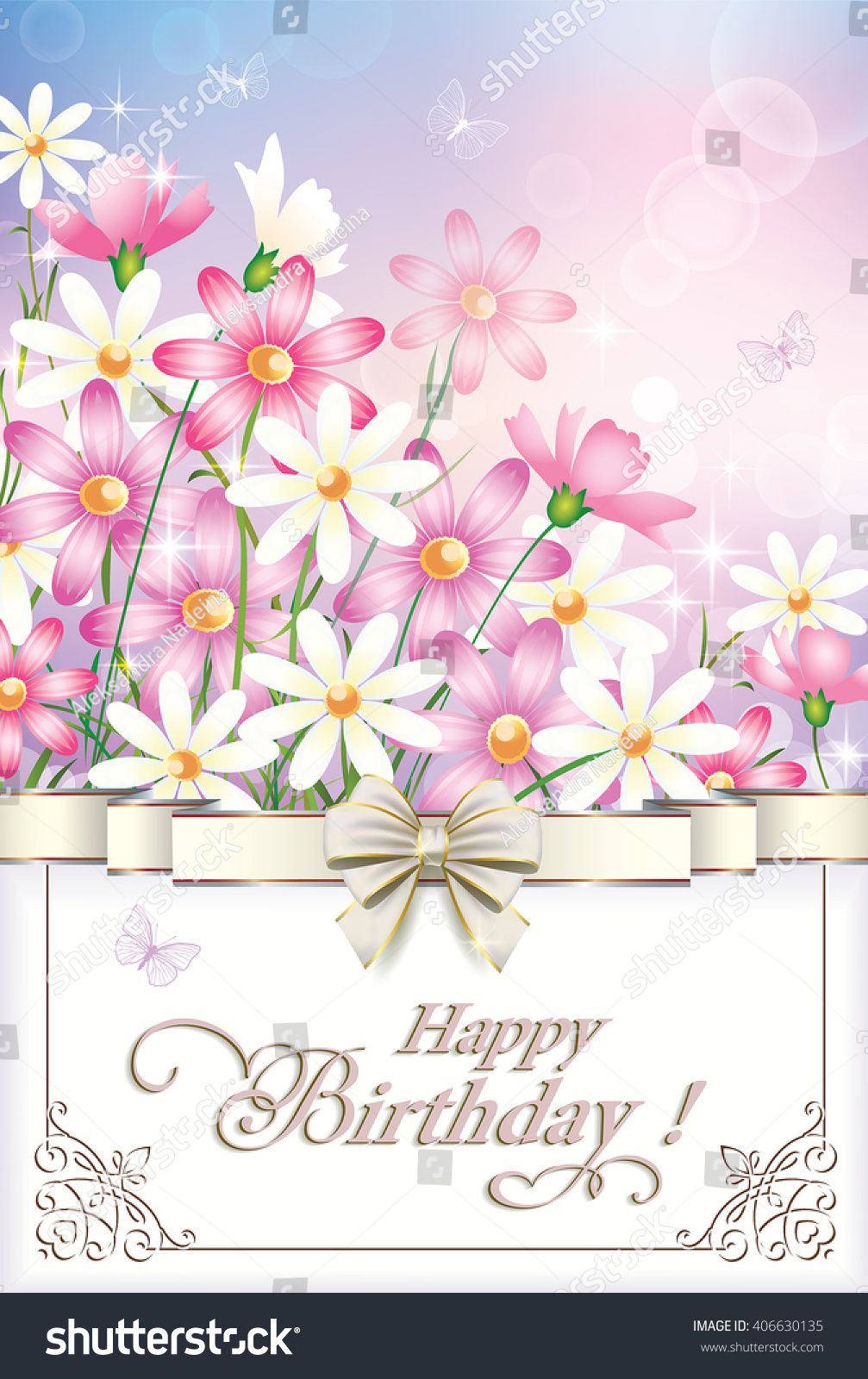 Greeting Card Happy Birthday Flowers Frame Stock Vector Royalty