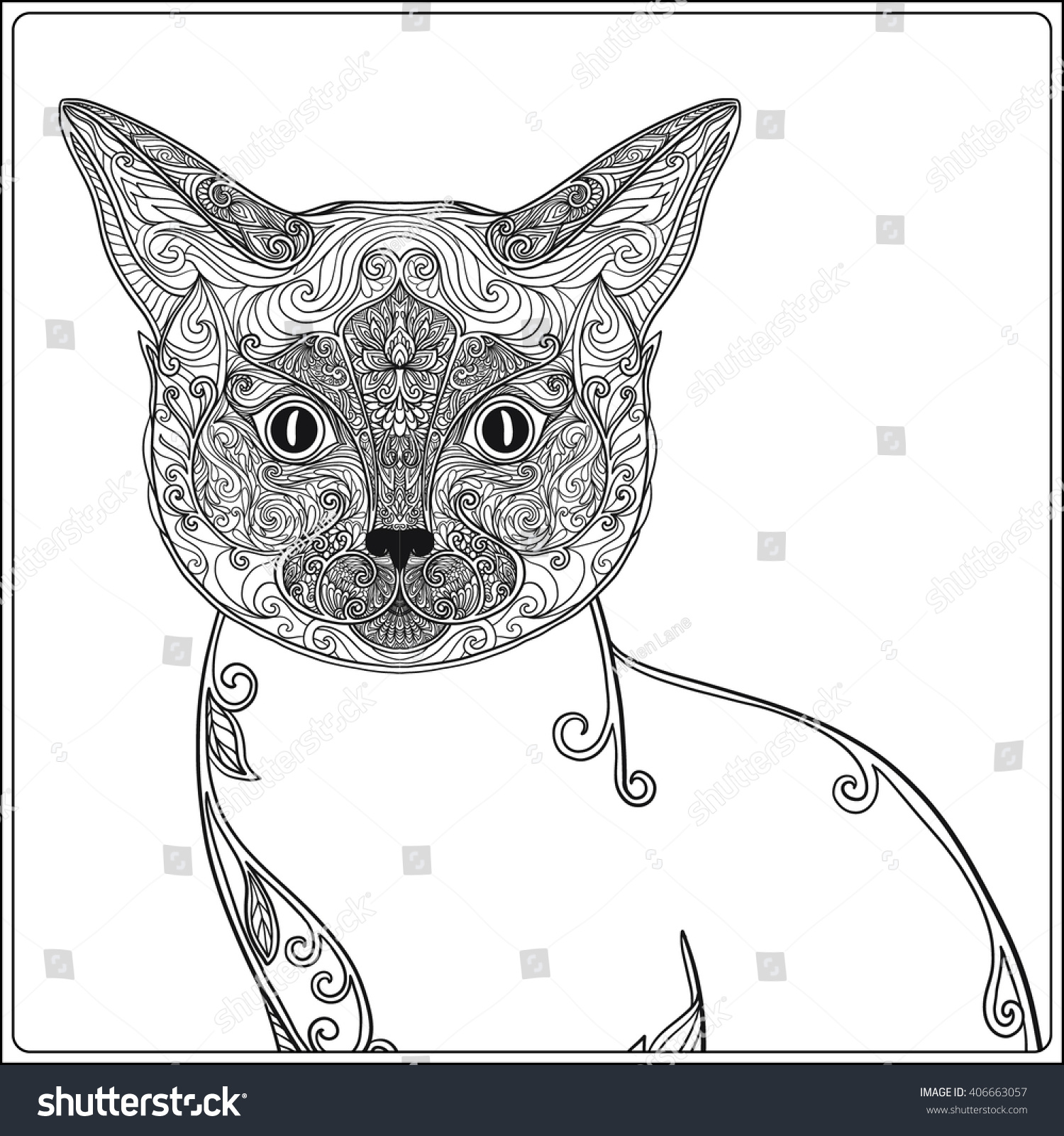 Decorative Cat Vector Illustration Adult Coloring Book Page