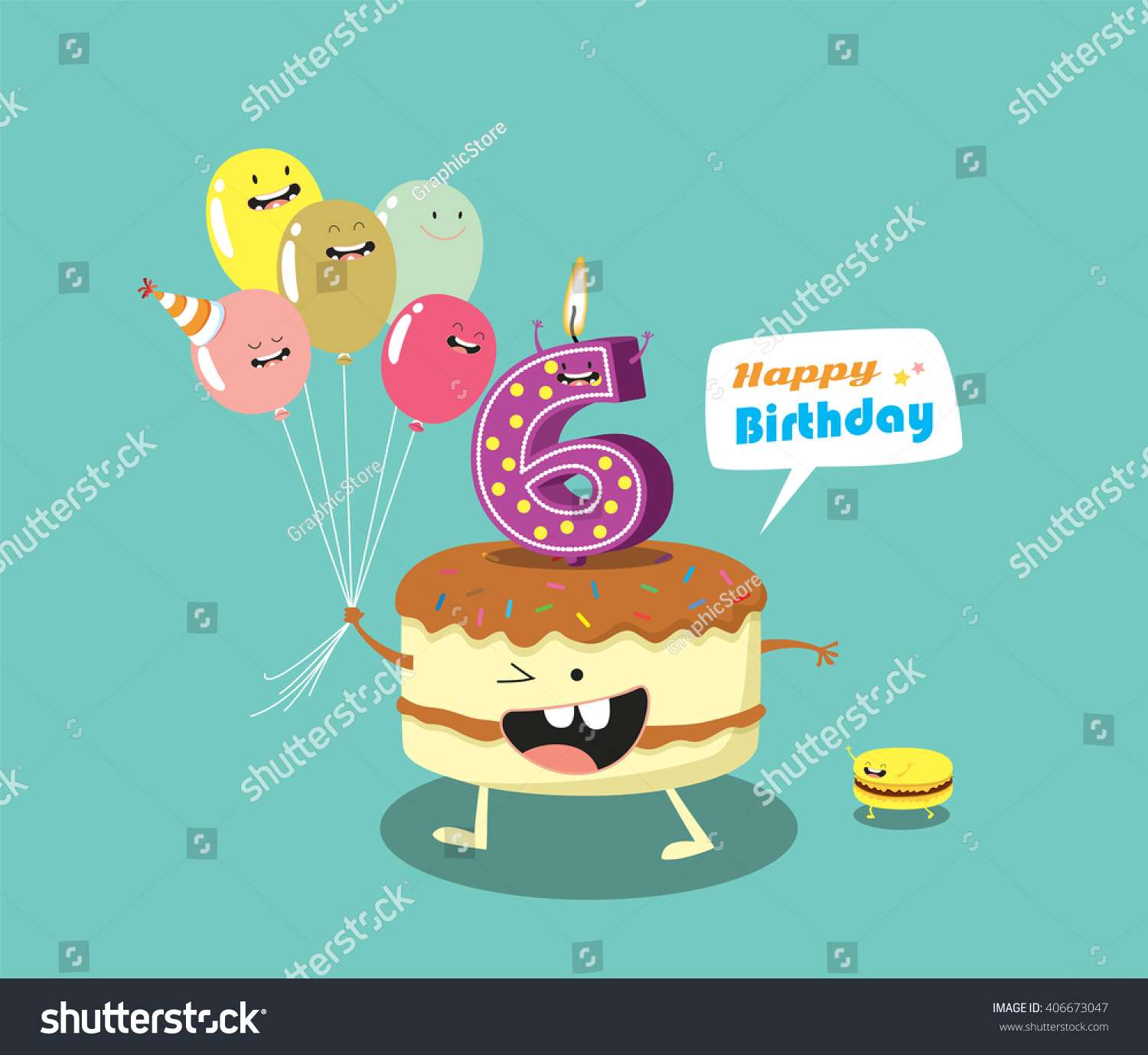 Happy Birthday Card Funny Cake Number Vector 406673047 – Funny Happy Birthday Cards for Friends