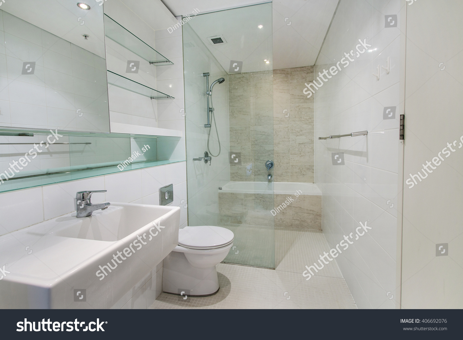 modern bathroom luxury apartment stock photo 406692076 shutterstock. Black Bedroom Furniture Sets. Home Design Ideas