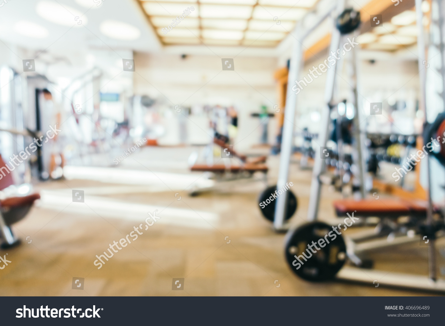Abstract blur fitness gym room interior stock photo