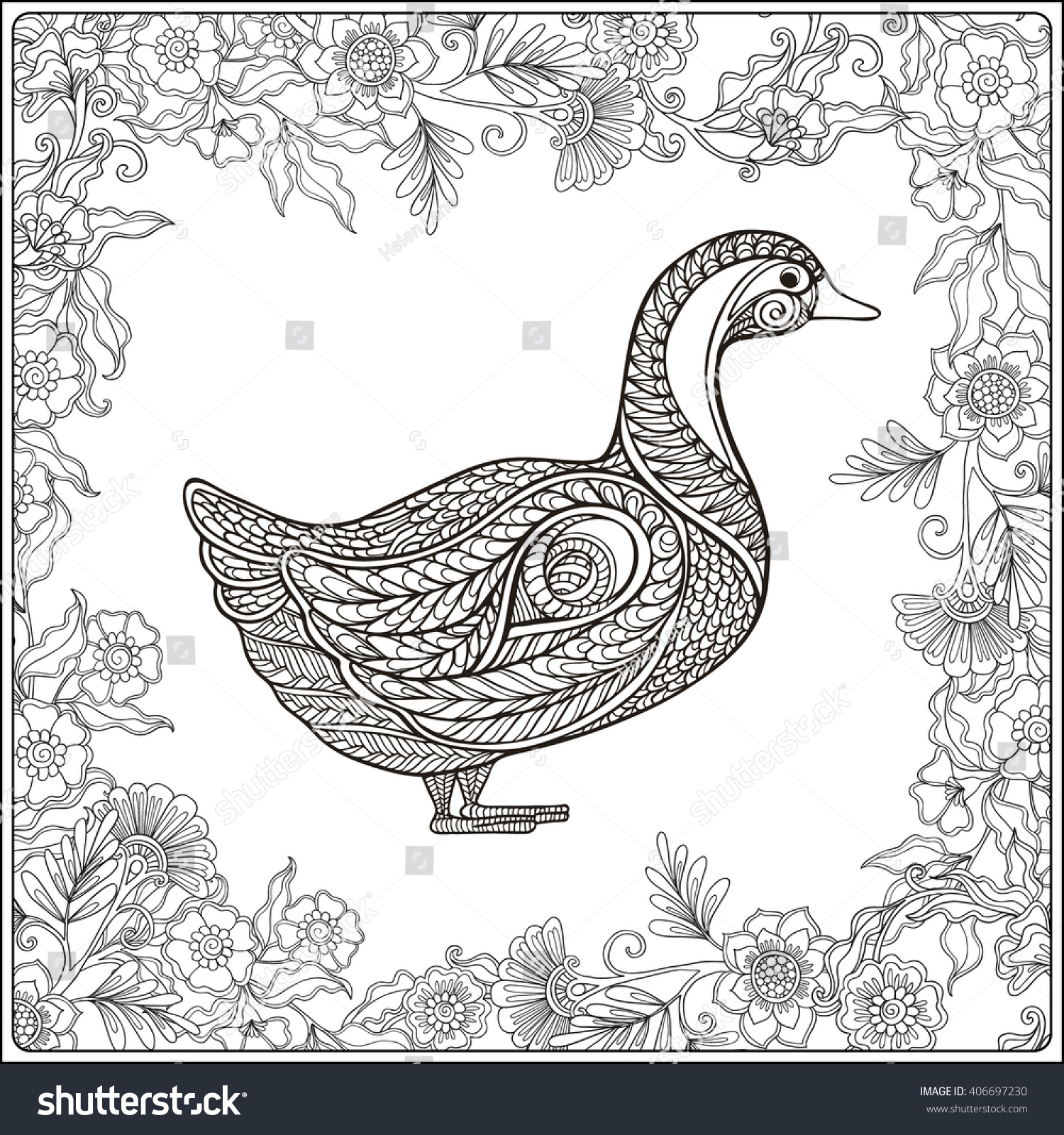 duck floral frame coloring book stock vector 406697230