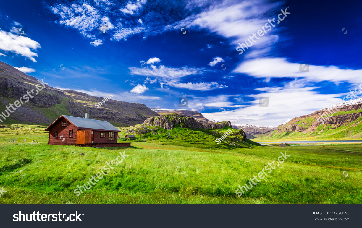 Small cottage mountains iceland stock photo 406698196 for Cottage in the mountains