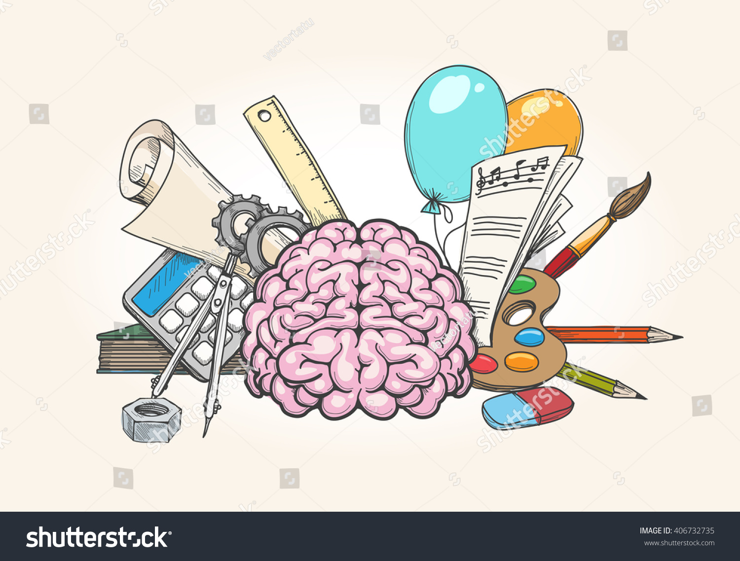 left right brain concept human mind stock vector 406732735 human mind creativity and analytical skills hand drawn vector illustration
