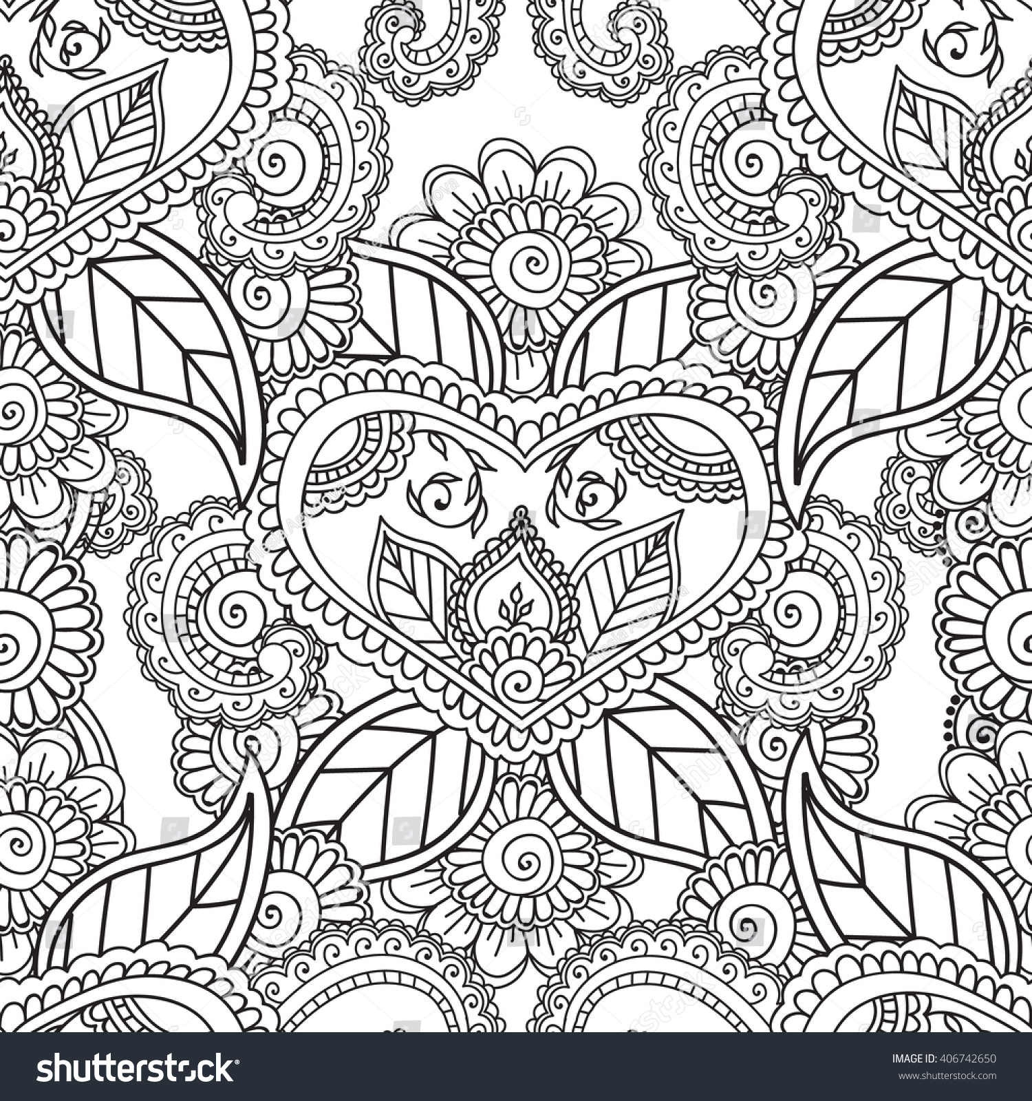 coloring pages adults seamless patternhenna mehndi stock vector 406742650 shutterstock - Coloring Pages For Adults Abstract