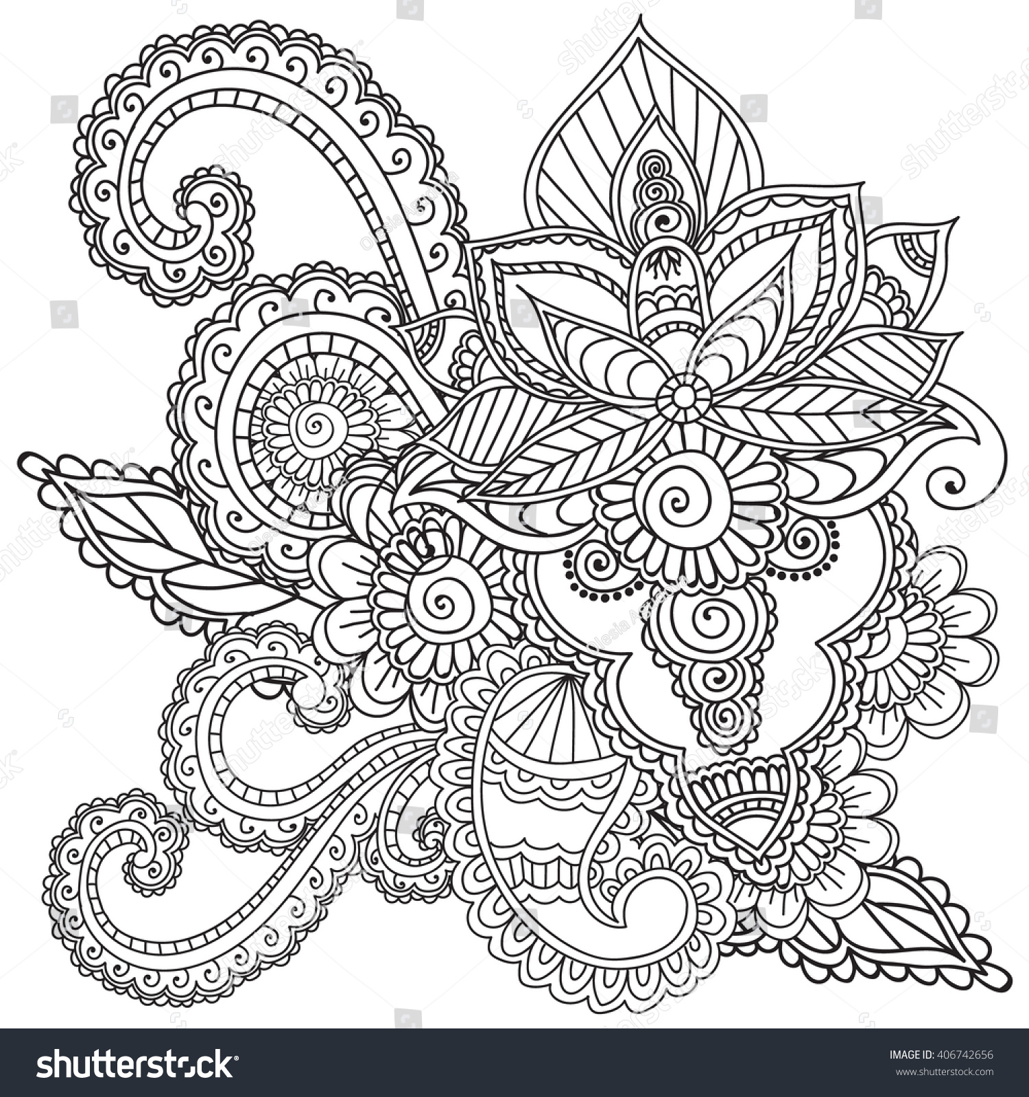 coloring pages adults henna mehndi doodles stock vector 406742656