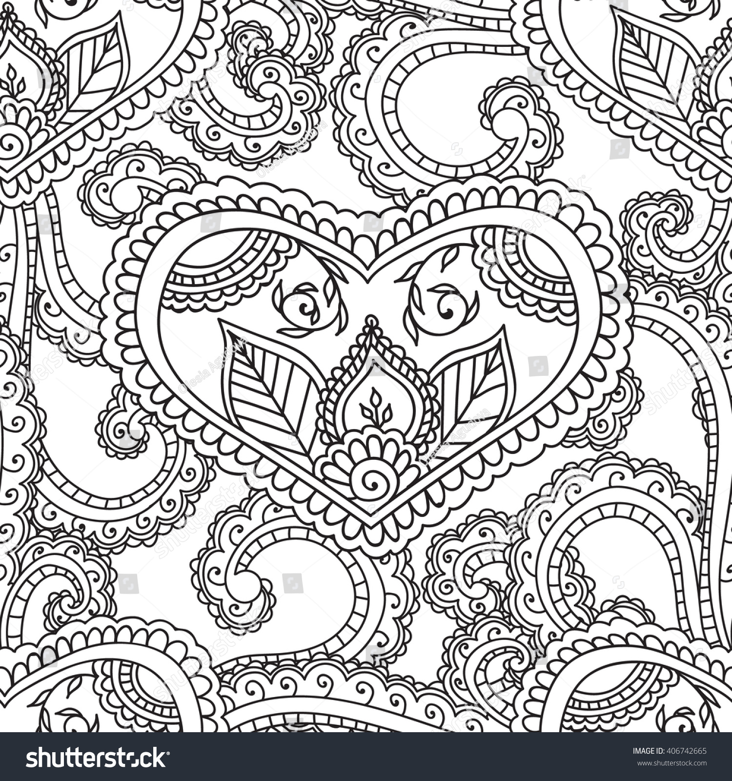 Coloring pages henna - Coloring Pages For Adults Seamless Pattern Henna Mehndi Doodles Zentangle Abstract Floral Paisley