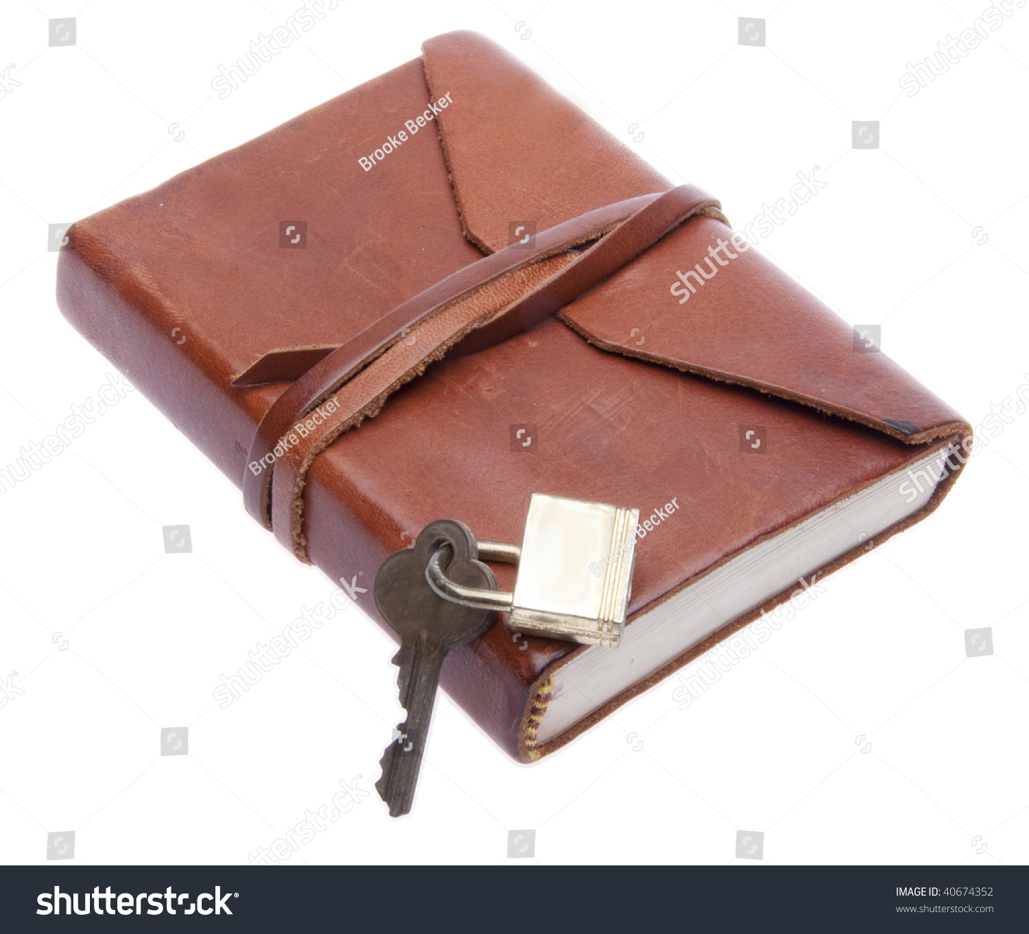 Old Leather Journal With Key Old Leather Journal Wi...