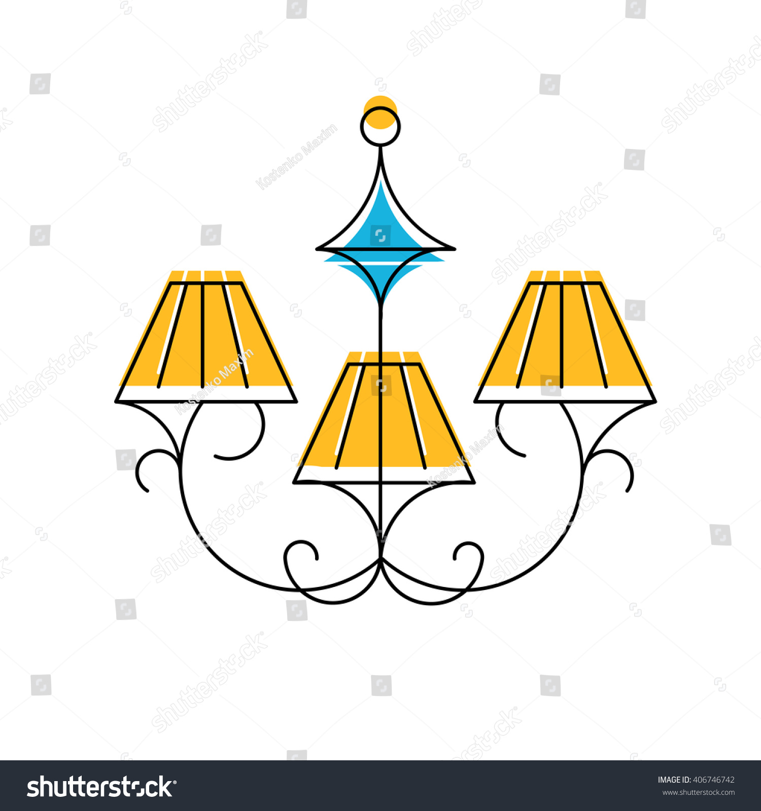 Chandelier Line Icon Vector Illustration Hanging Stock Vector ...