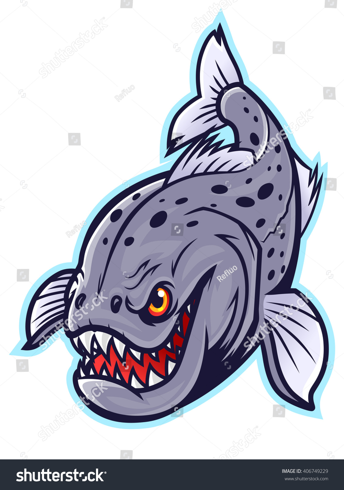Hungry Piranha Vector de stock406749229: Shutterstock