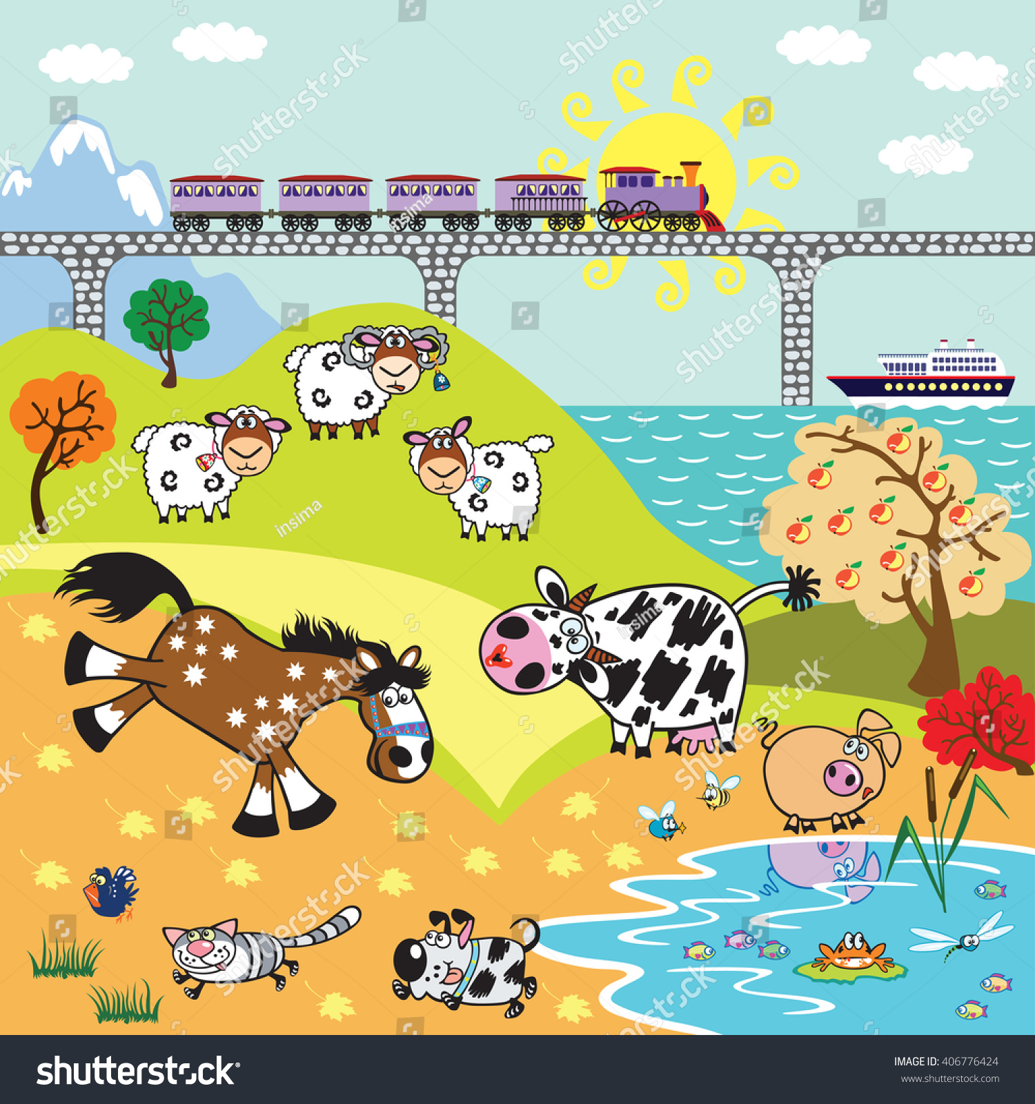 countryside rural landscape cartoon farm animals stock vector