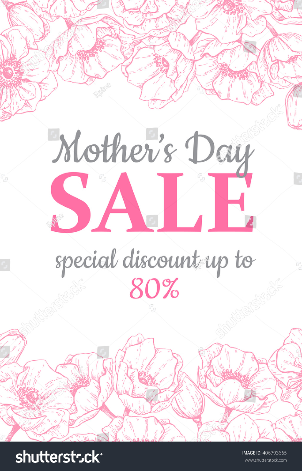 Mothers Day Sale Illustration Detailed Flower Stock Vector 406793665 ...