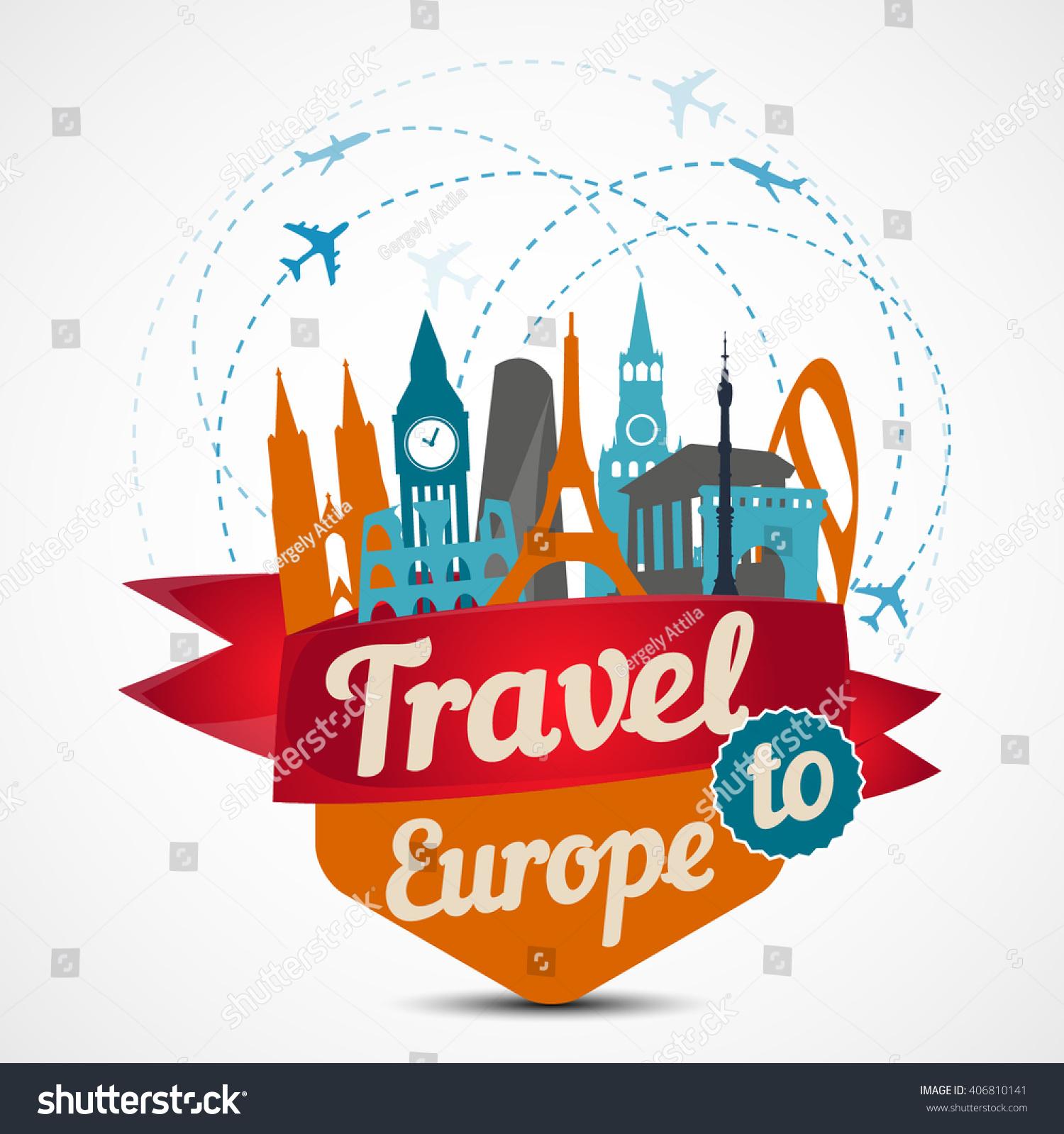 Europe Skyline Detailed Silhouette Vector Illustration Stock - Travel to europe