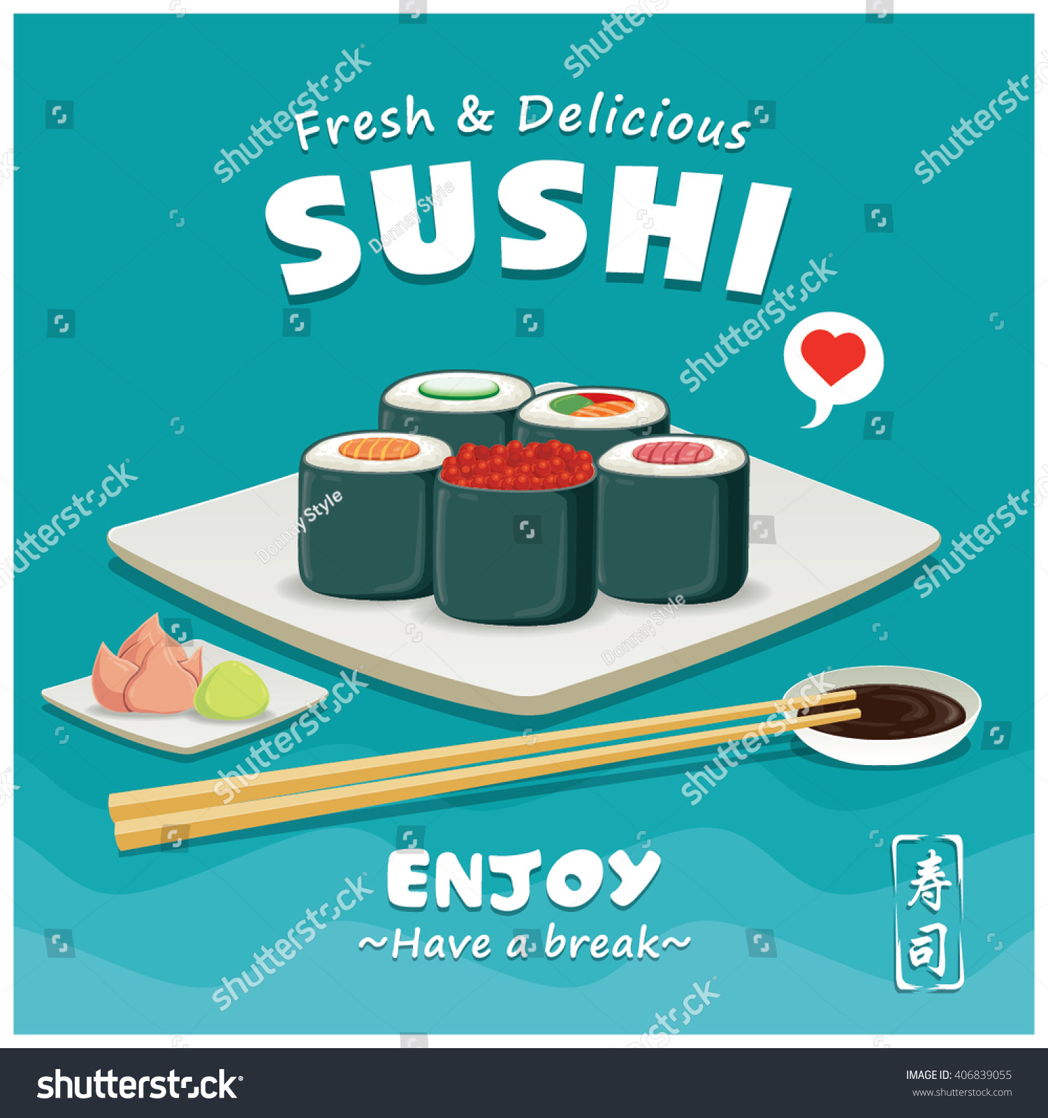 Poster design word - Vintage Sushi Poster Design Chinese Word Means Sushi