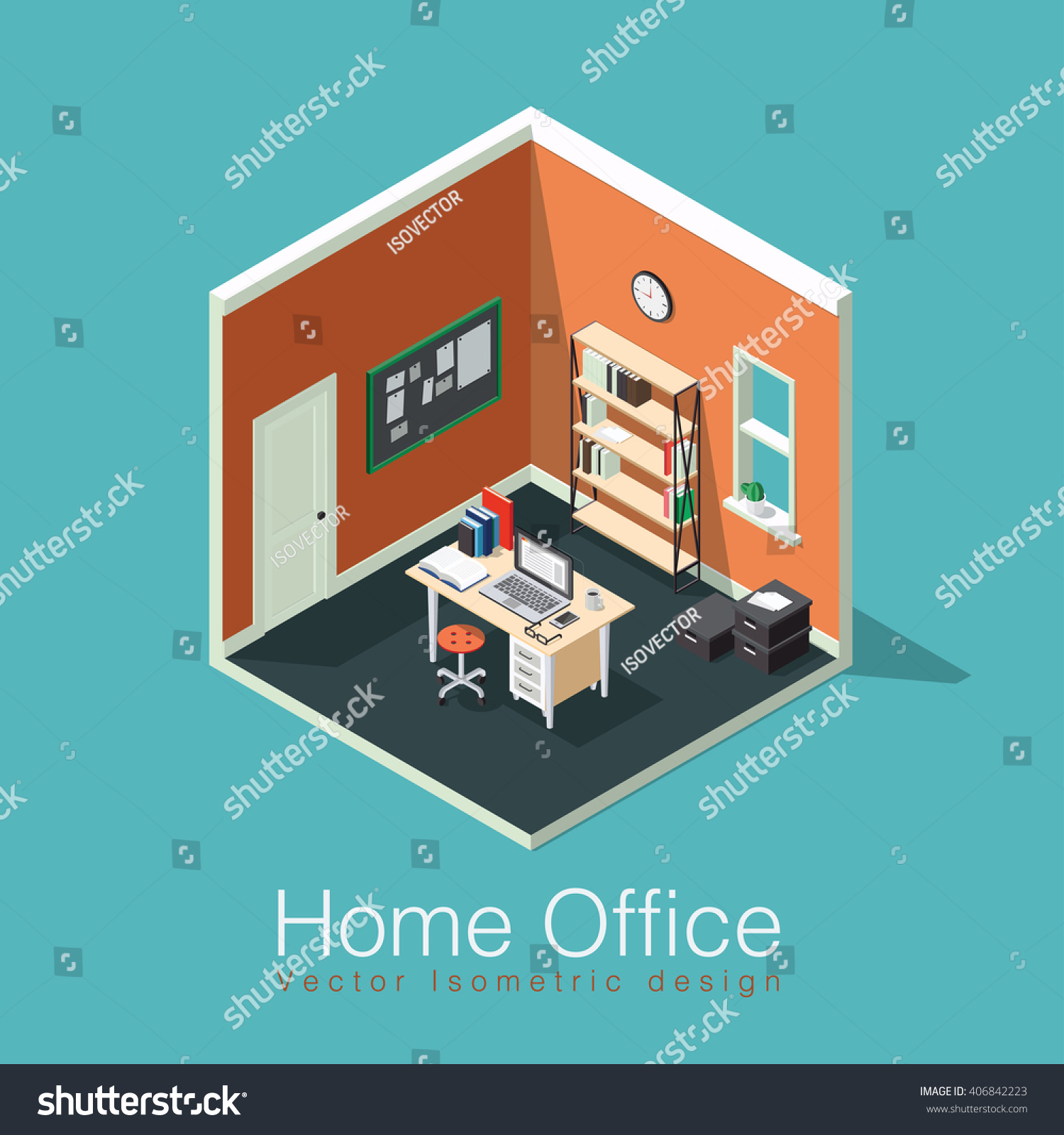 Home Office Concept Isometric Vector Illustration. Isometric Side View  Interior Home Office Room With Bookshelf