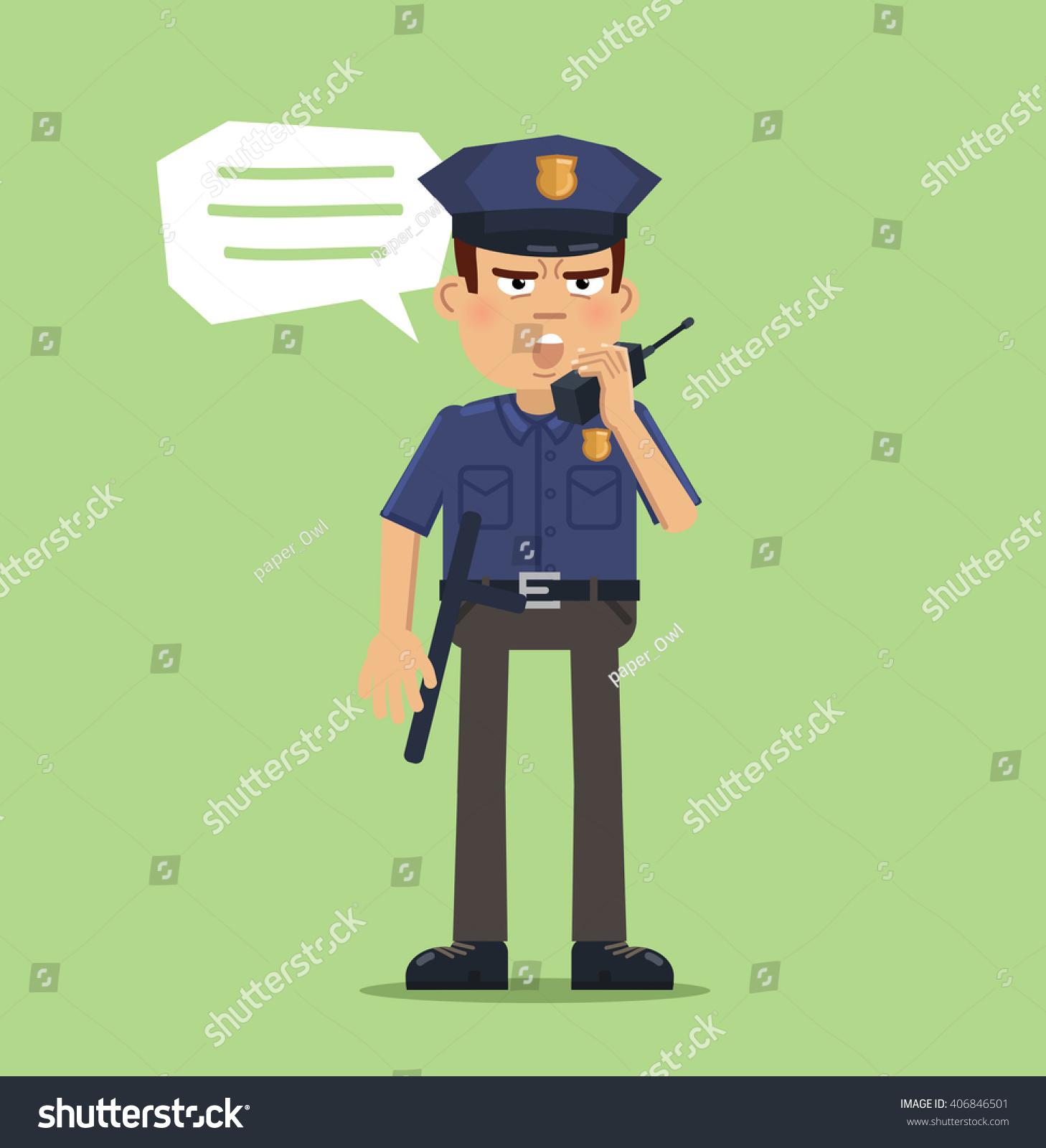 illustration policeman talking on walkietalkie police stock vector