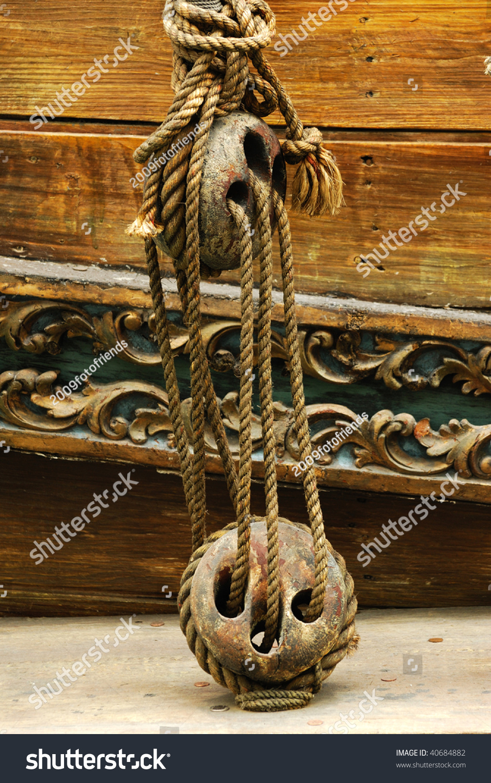 Vintage wooden pulley block in an ancient boat displaying at west edmonton  mall, edmonton, alberta, canada - Image