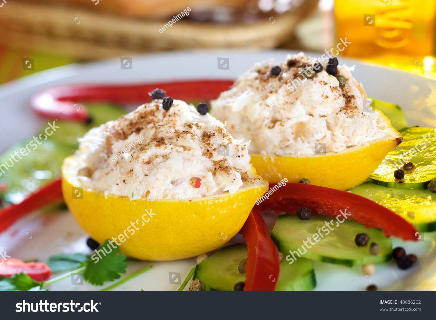 Lemon stuffed with smoked fish and cheese stock photo for Fish and cheese