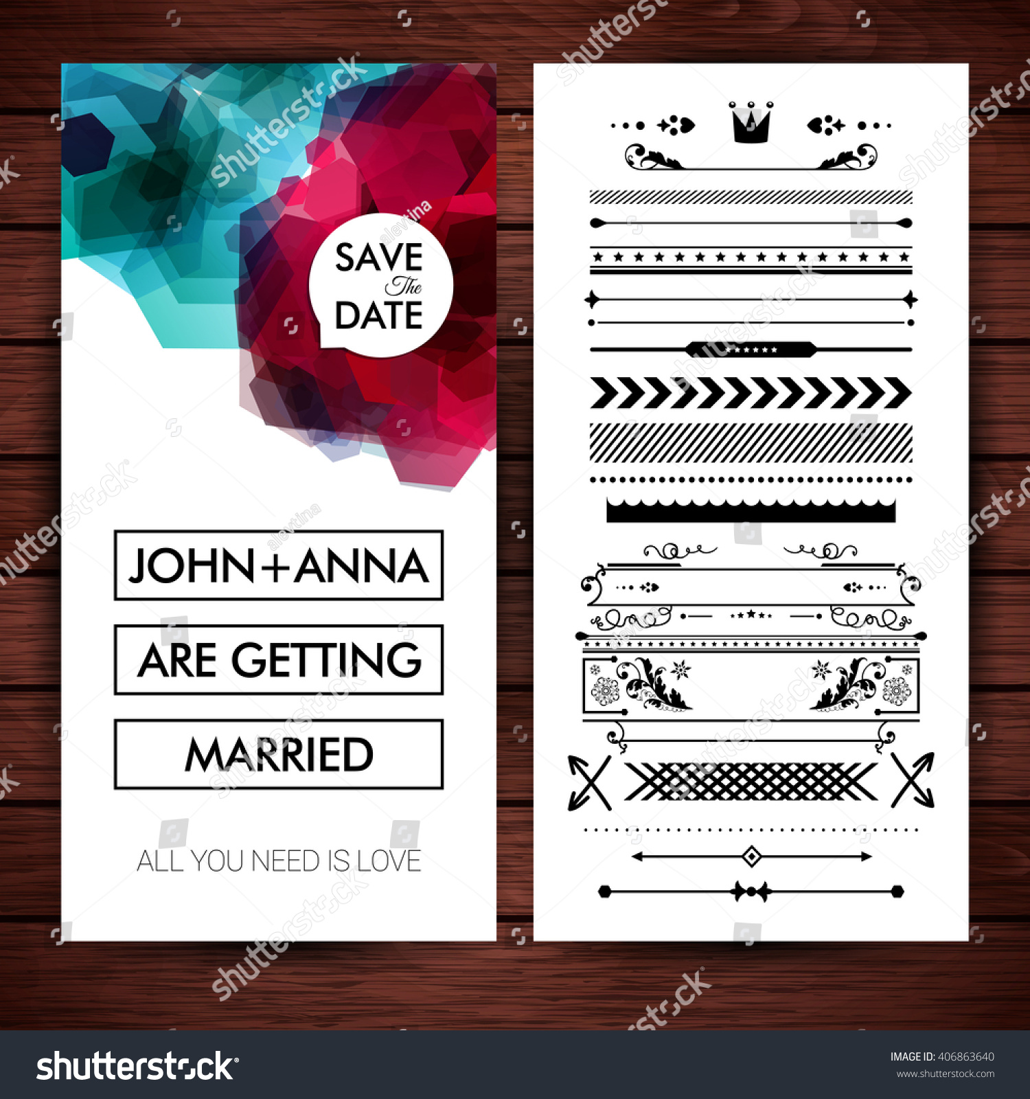 Wedding Invitation Placeholder Name Text Over Stock Vector 406863640 ...