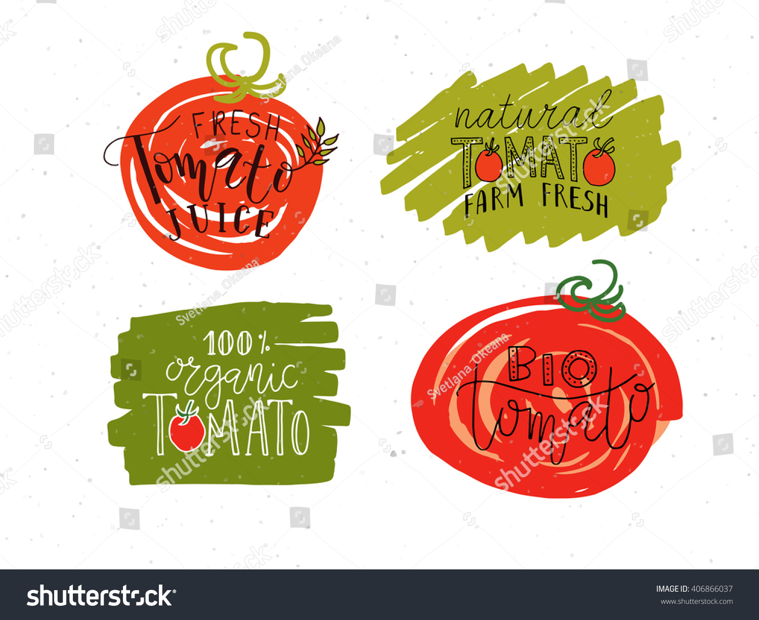 Hand sketched lettering typography set. Concept for farmers market, organic food, natural product design, juice, sauce, ketchup. Tomato calligraphy logotype, badge icon, banner, flyer