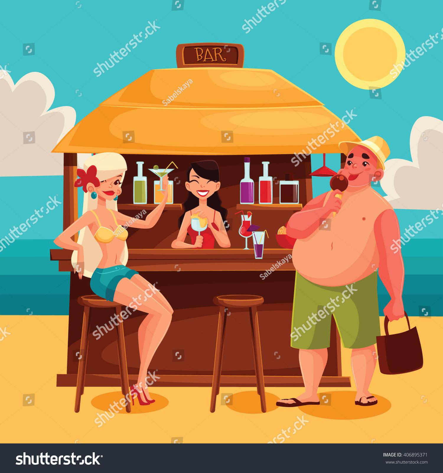 Beach Bar Cocktail Vector Cartoon Illustration Stock