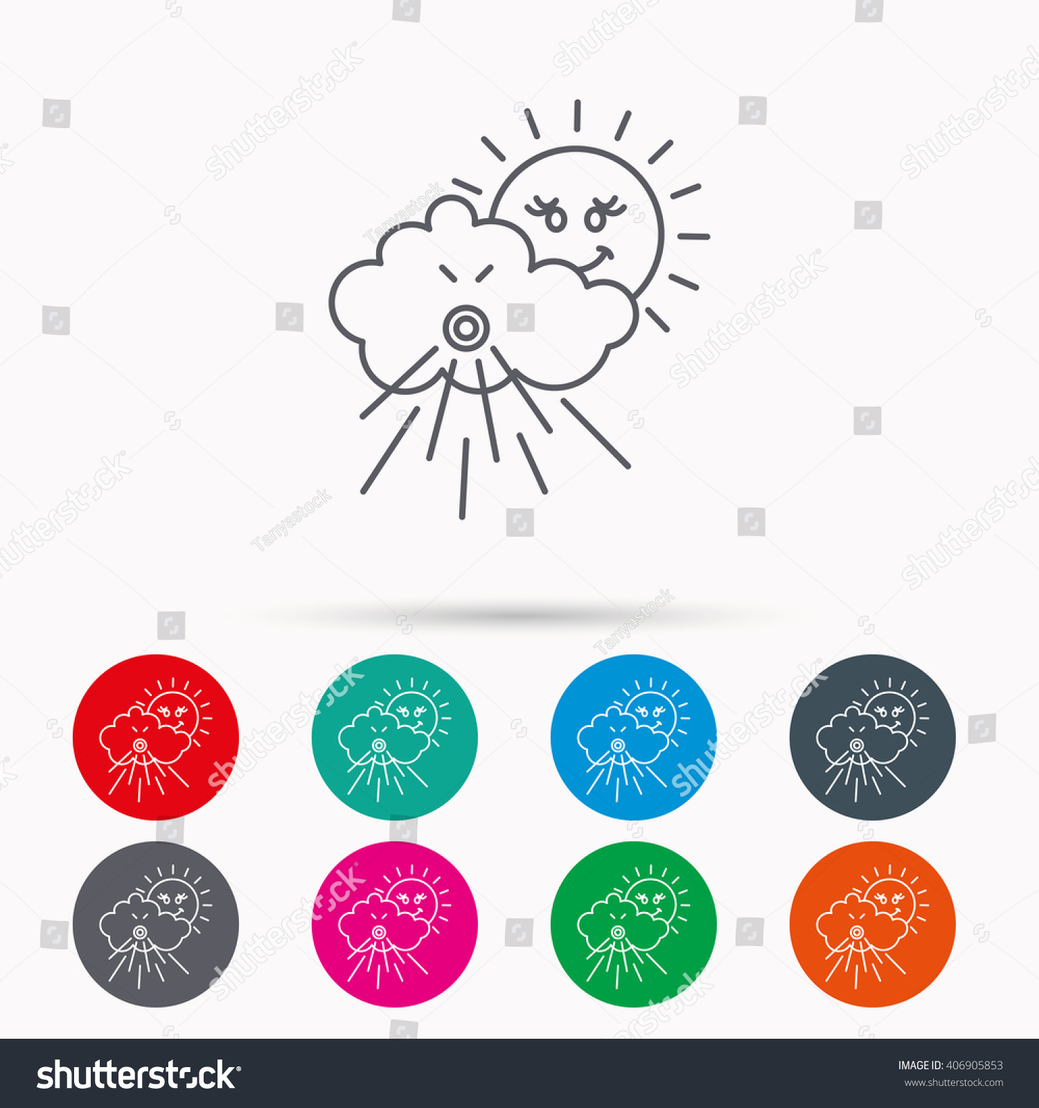 Wind icon cloud sun storm sign stock vector 406905853 shutterstock wind icon cloud with sun and storm sign strong wind or tempest symbol biocorpaavc