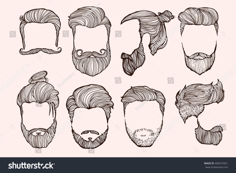 Fine Man Hairstyle Set Handdrawn Sketches Vector Stock Vector 406915921 Short Hairstyles Gunalazisus